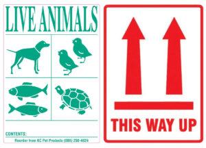étiquettes nécessaires au transport d'animaux
